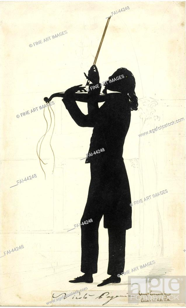 Stock Photo: Portrait of Niccolò Paganini (1782-1840) by Edouart, Auguste Amant Constant Fidèle (1789-1861)/Ink on paper/Neoclassicism/1831/France/Private Collection/28.
