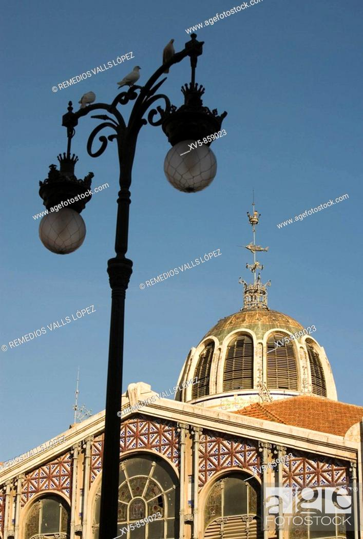 Stock Photo: Spain. Valencia. Central Market is one of the oldest running food markets in Europe, although the building itself was constructed in the beginning of the XX.