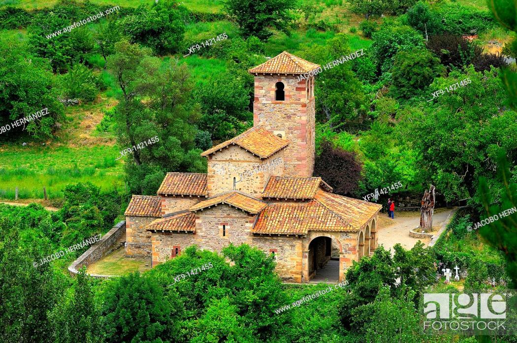 Stock Photo: Santa María de Lebeña mozarabic church, 10th century. Lebeña. Liébana valley. Cantabria. Spain.