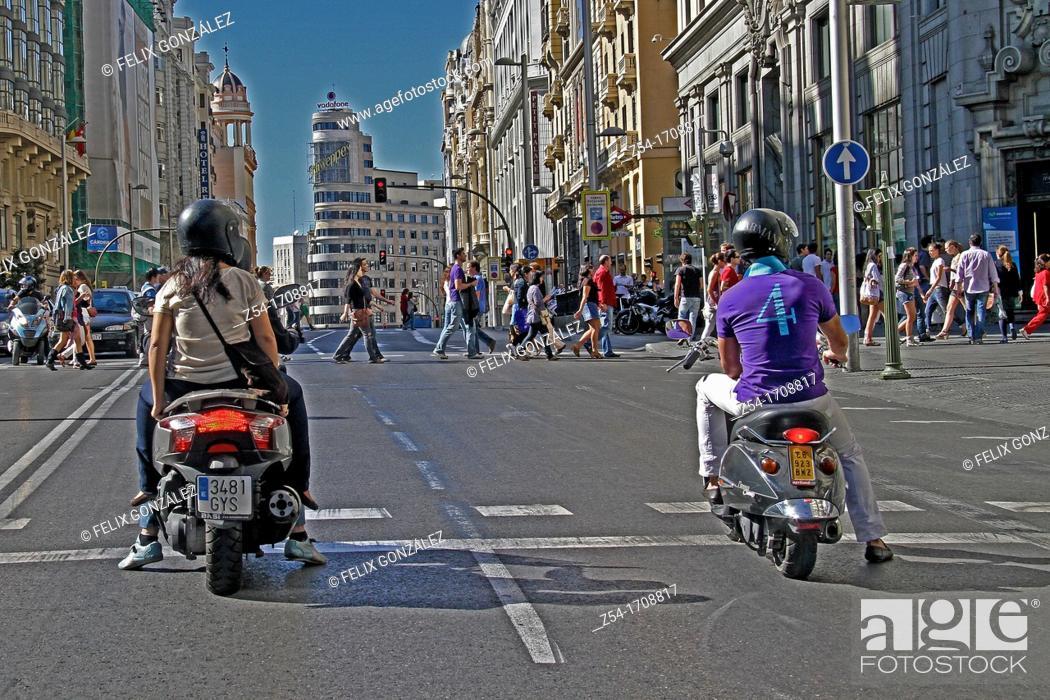 Stock Photo: GRan Via Street, Madrid.