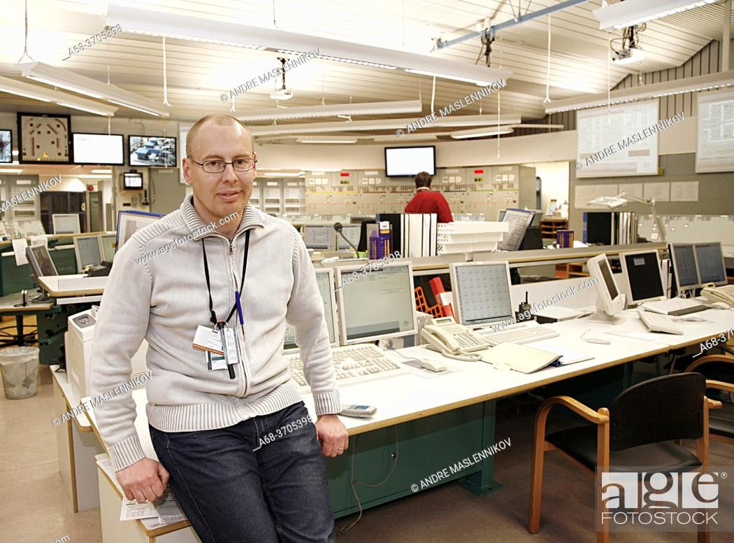 Stock Photo: Forsmark nuclear power plant. Johan Gestberg is head of the shift.