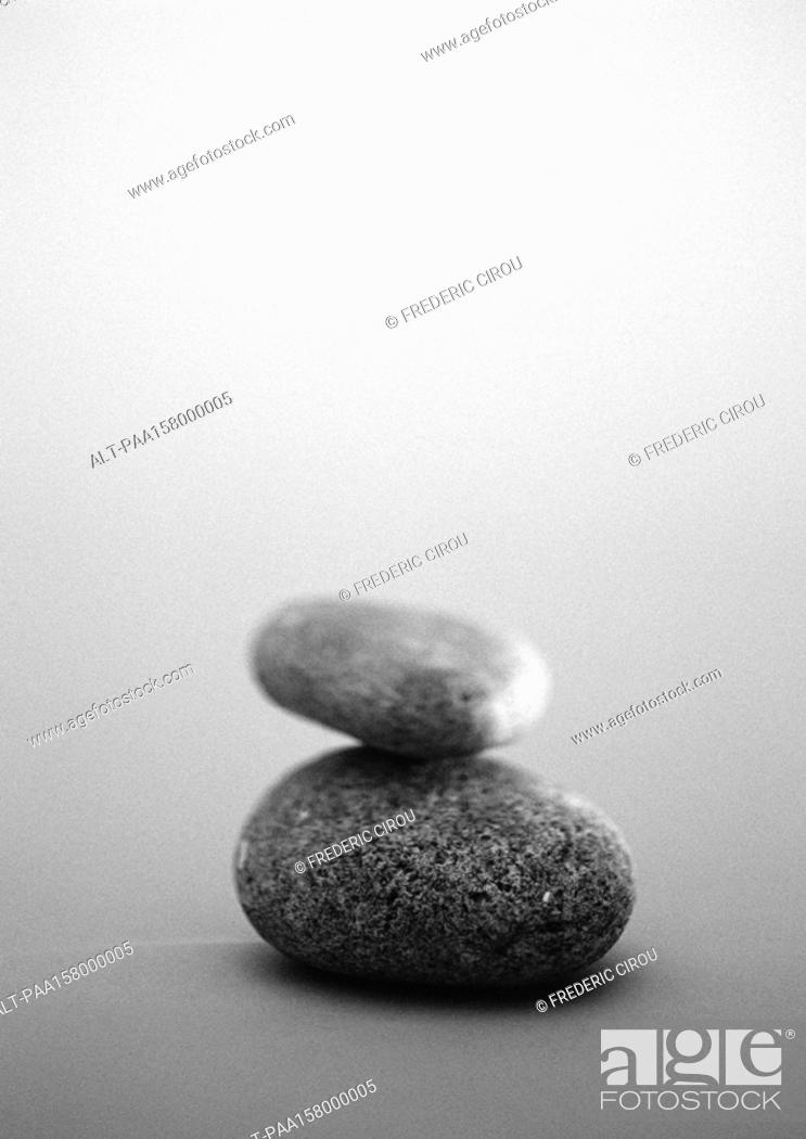 Stock Photo: Two pebbles, b&w.