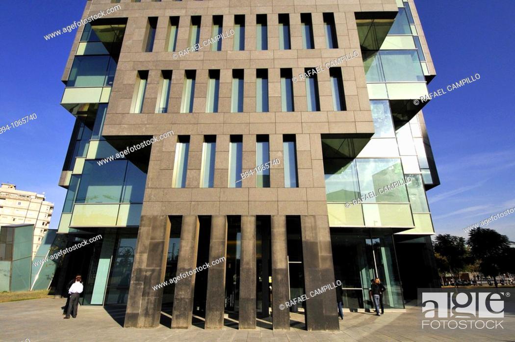 Stock Photo: Copisa Tower (2007) by architect Oscar Tusquets, Plaça d'Europa square, L'Hospitalet de Llobregat, Barcelona province, Catalonia, Spain.