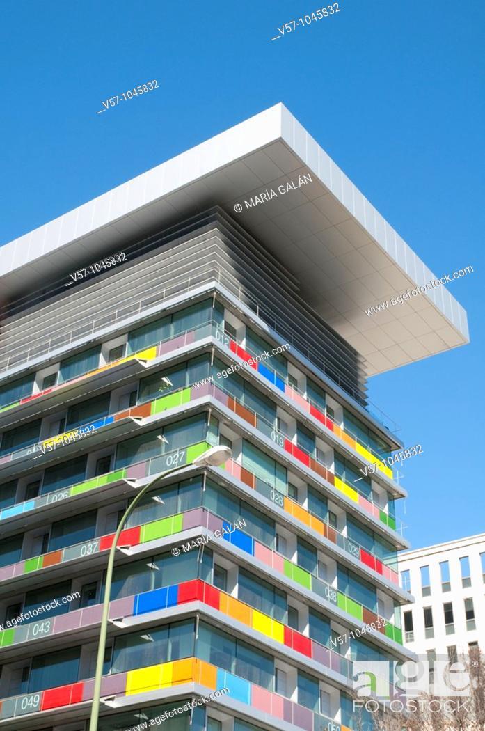 Stock Photo: INE building, Paseo de la Castellana. Madrid, Spain.