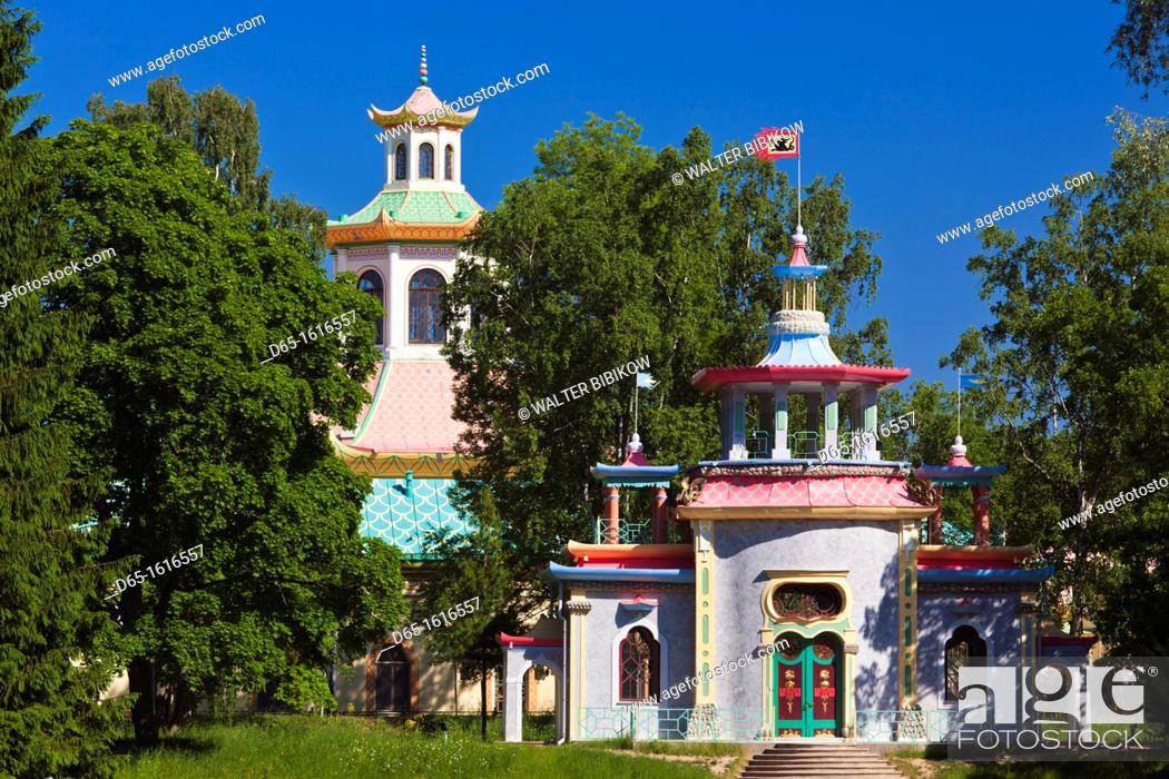 Stock Photo: Russia, Saint Petersburg, Pushkin-Tsarskoye Selo, Chinese Pavillion.