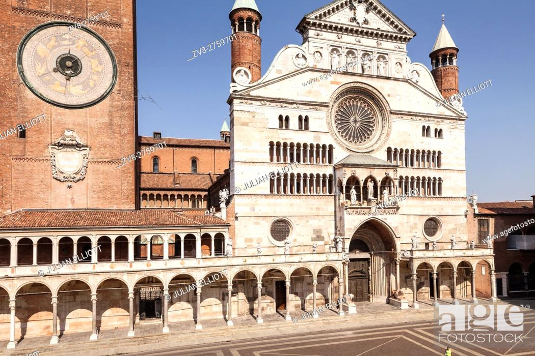 Stock Photo: The Duomo di Cremona or cathedral. The cathedral of Cremona dates from the early 12th century and features elemnst of Gothic.