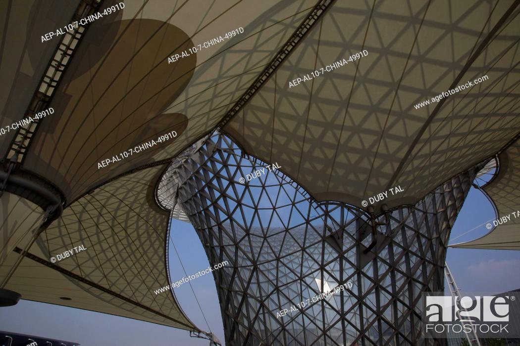 Exhibition Booth In Spanish : Abstract view of the tent like structure of the spanish booth in the
