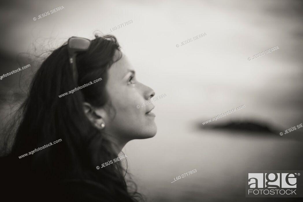 Stock Photo: Thoughtful girl in la Palma. Canary islands, Spain.