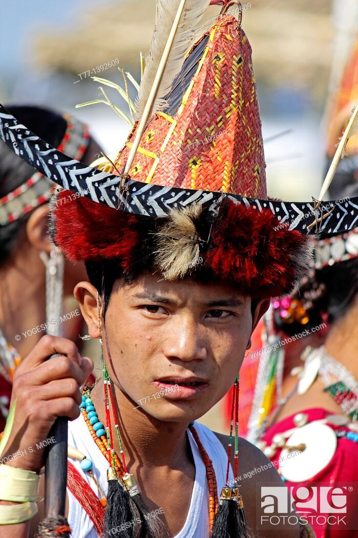 Stock Photo: Nocte warrior tribe, man with traditional Wear at Namdapha Eco Cultural Festival, Miao, Arunachal Pradesh, India.