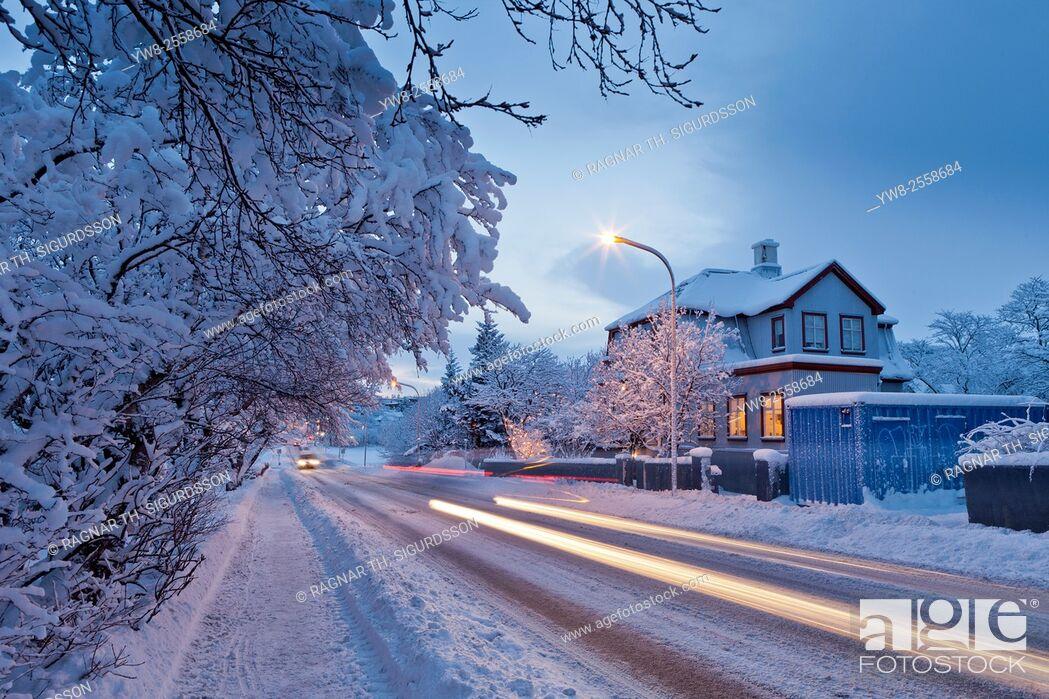 Stock Photo: Snowstorm, Reykjavik, Iceland.