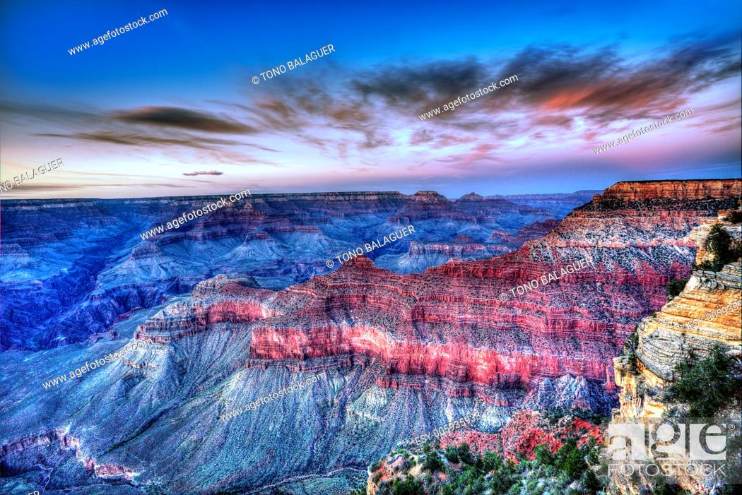 Stock Photo: Arizona sunset Grand Canyon National Park Mother Point in USA.
