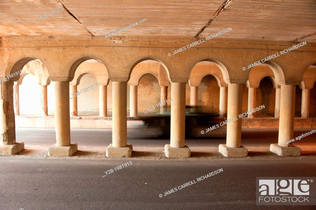 Stock Photo: concrete columns in automobile tunnell in memphis tennessee usa.