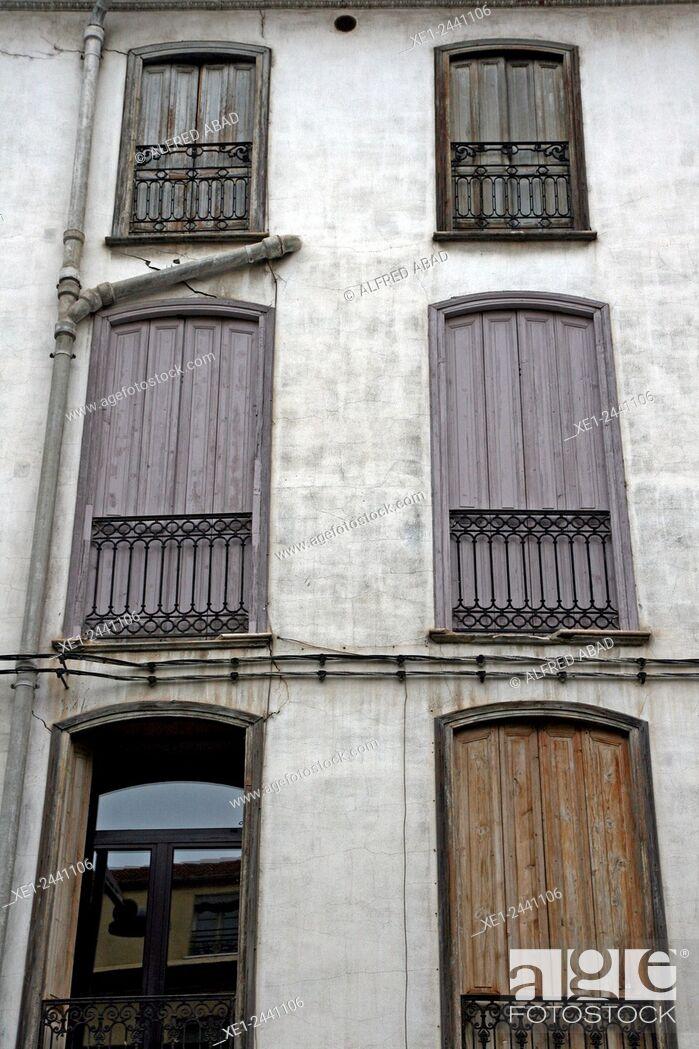 Stock Photo: Balconies, Perpignan, France.