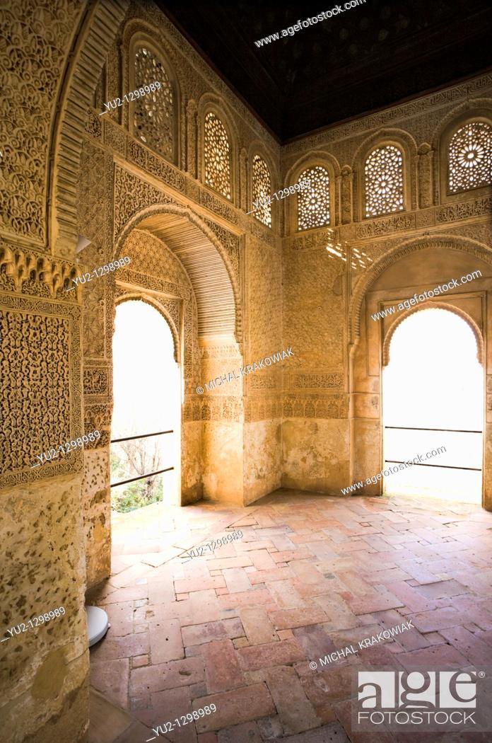 Stock Photo: Balcony of palace in Generalife, Alhambra Granada, Spain.