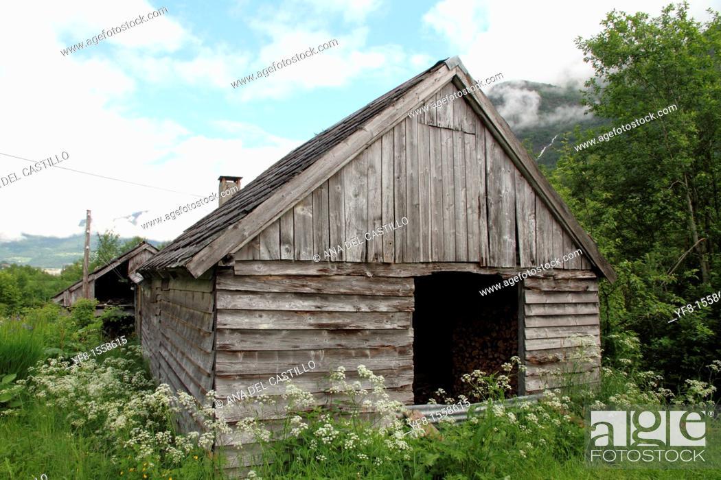 Stock Photo: Rural architecture in Oldendalen valley, Lake Oldevatnet, Stryn, Norway.