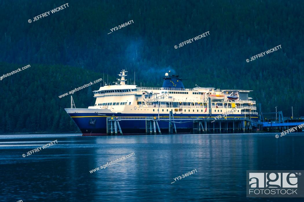 Stock Photo: The M/V Kennicott docked at the Sitka Terminal. Sitka, Alaska, USA. The Alaska Marine Highway System operates along the south-central coast of the state.
