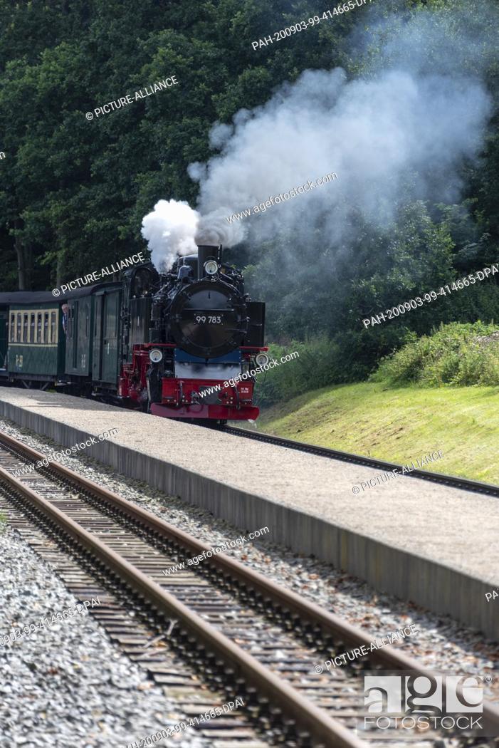 Stock Photo: 03 August 2020, Mecklenburg-Western Pomerania, Garftitz: A steam locomotive 99 783 enters the small station near the Granitz hunting lodge.