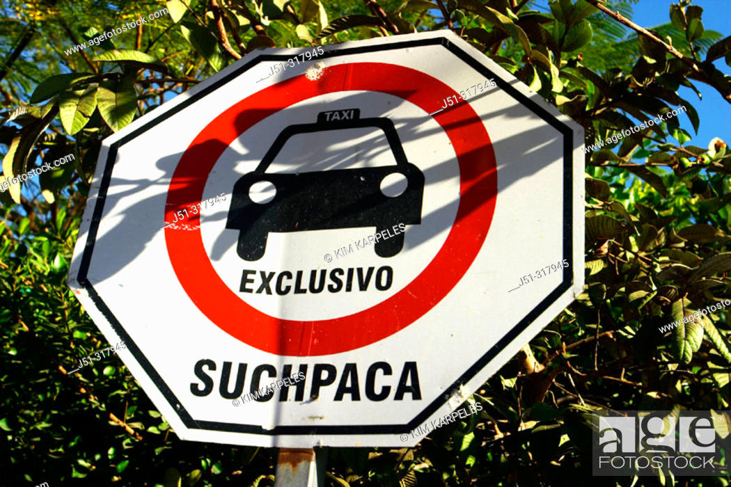 Stock Photo: Traffic warning sign, parking for taxi cabs only. Cabo San Lucas, Mexico.