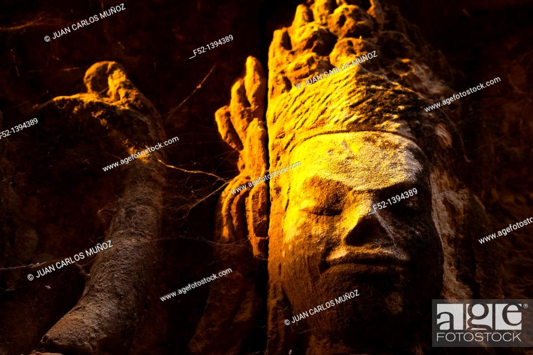 Stock Photo: Leper King Terrace  Angkor Thom  Angkor  Siem Reap town, Siem Reap province, Cambodia, Asia.