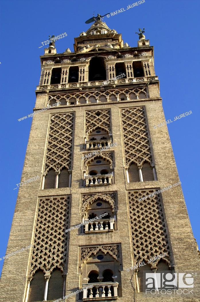 Stock Photo: Sevilla (Spain). The Giralda of Seville, bell tower of the cathedral of the city.