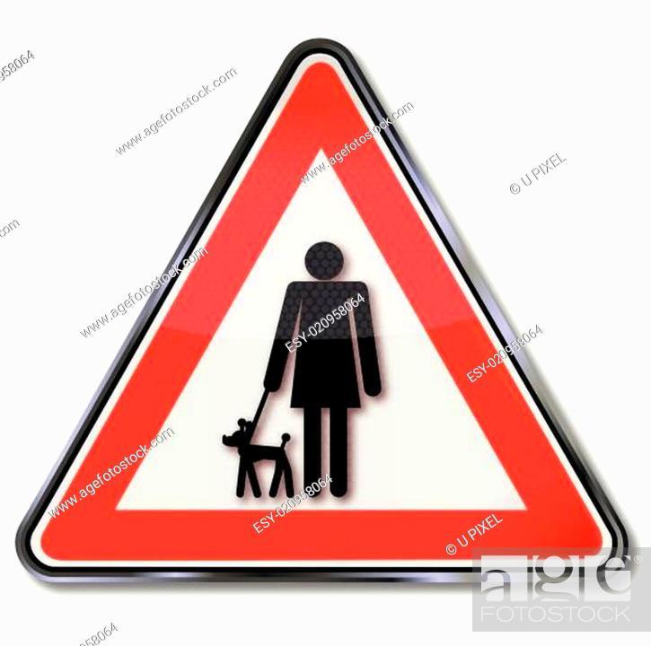 Stock Vector: Schild Frauchen mit keinen Hund.