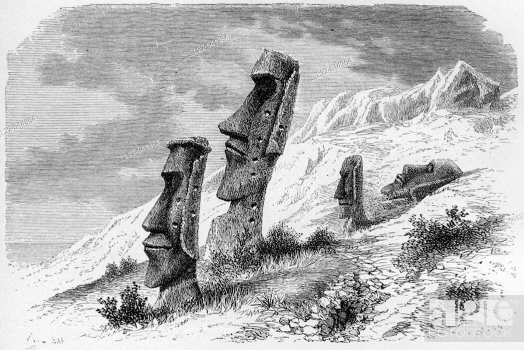 Stock Photo: Ronororaka. Inside Volcano. South Eastern side. Drawing of A. De Bar from sketches of Mr. Alphonse Pinart. Easter Island, Chile.