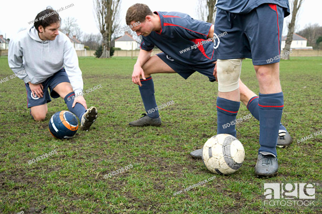 Stock Photo: Footballers warming up.