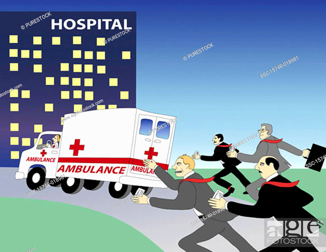 Stock Photo: Ambulance Chasers I  2004 Linda Braucht (20th C. American) Computer graphics.