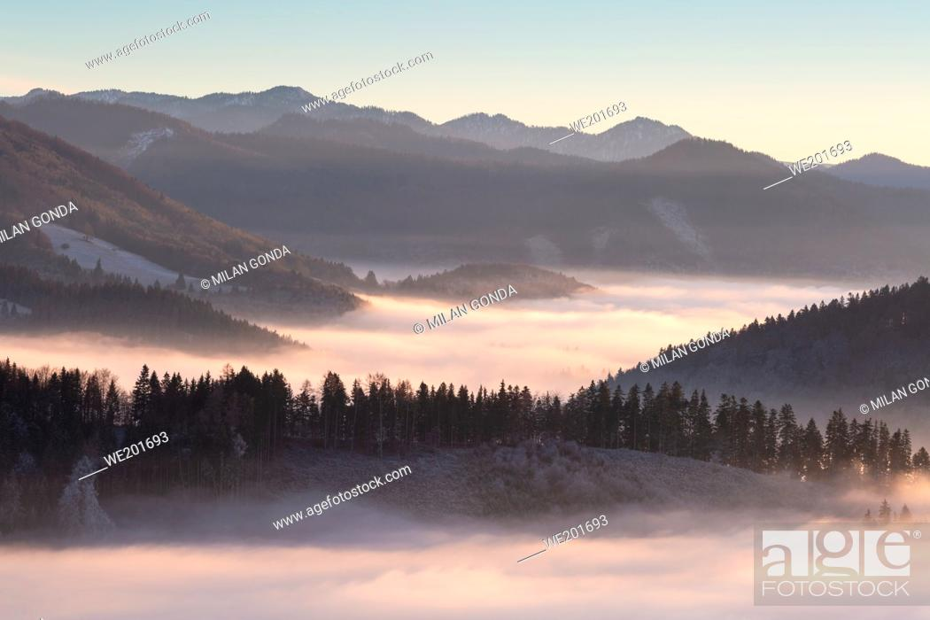 Stock Photo: Velka Fatra mountains shrouded in low clouds, Slovakia.