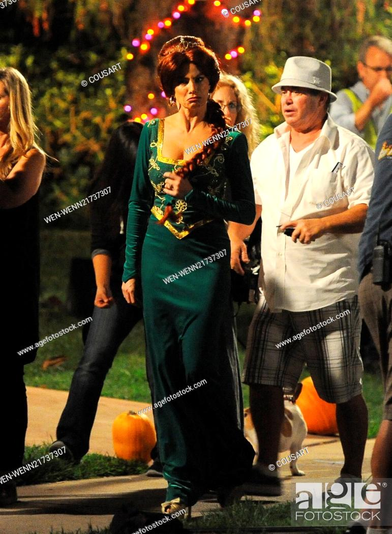 Sofia Vergara Wears A Princess Fiona From Shrek Costume On The Set Of Modern Family Filming A Stock Photo Picture And Rights Managed Image Pic Wen Wenn21737307 Agefotostock