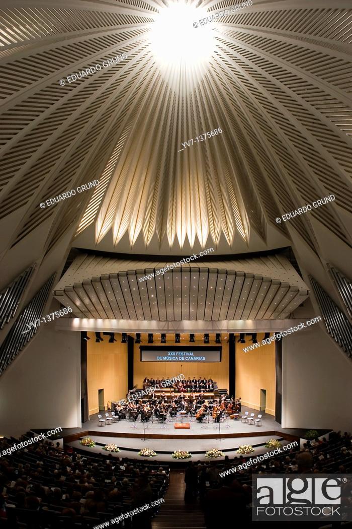 Stock Photo: Interior of the Auditorium concert hall of Santa Cruz de Tenerife, designed by architect Santiago Calatrava  Performance of the symphony orchestra and chorus of.