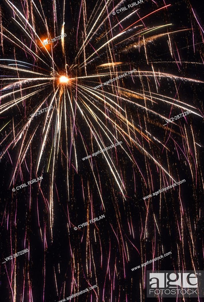 Stock Photo: Fire works display fourth of july America.