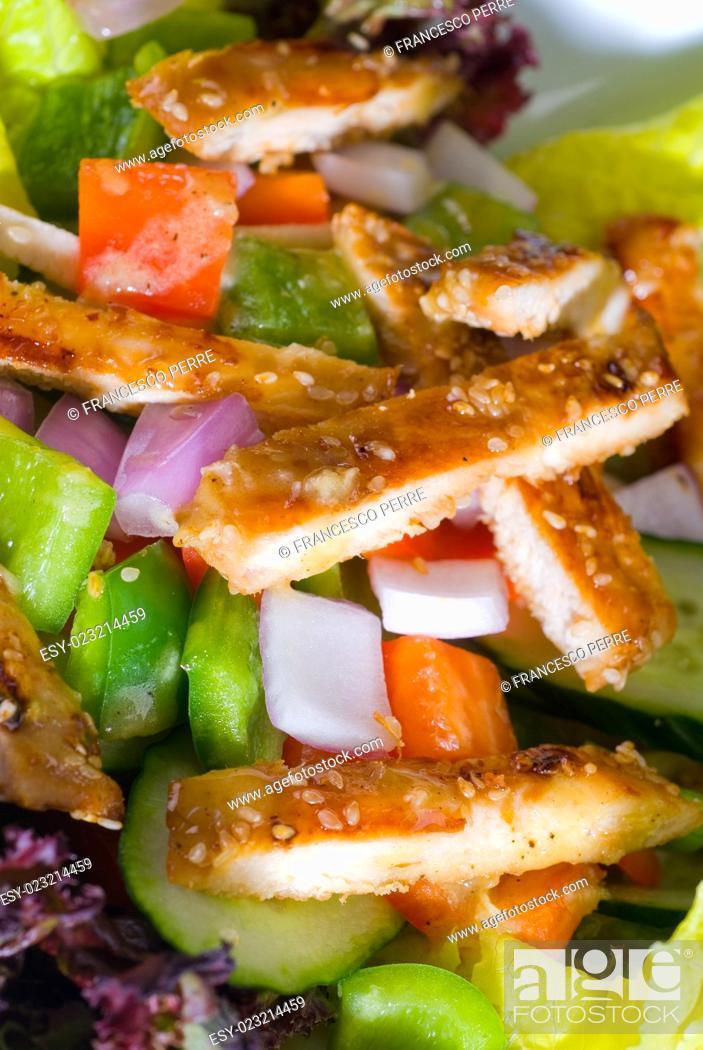 Stock Photo: fresh colorfull sesame chicken salad close up.