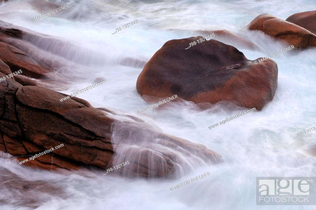 Stock Photo: Surf and rocks, blurred motion  Cote de Granit Rose, Pink Granite Coast, Cotes d'Armor, Brittany, France, Europe, Atlantic Ocean.