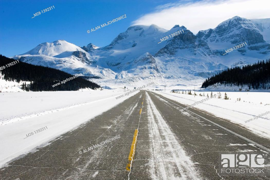Stock Photo: Icefields Parkway in winter, Mount Athabasca is in the distance, Jasper National Park Alberta Canada.