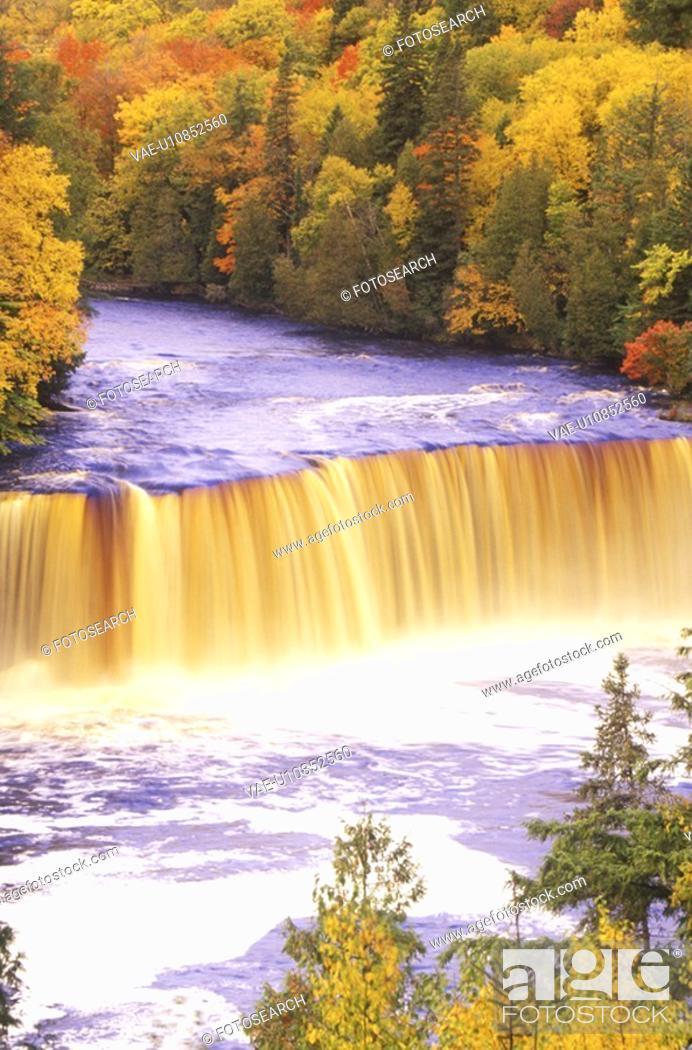 Stock Photo: Waterfall in Autumn.