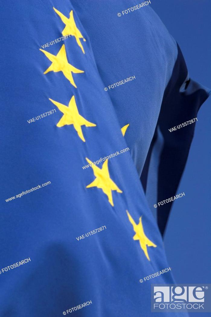 Stock Photo: Blue, Close-Up, Day, European Union Flag, In A Row.