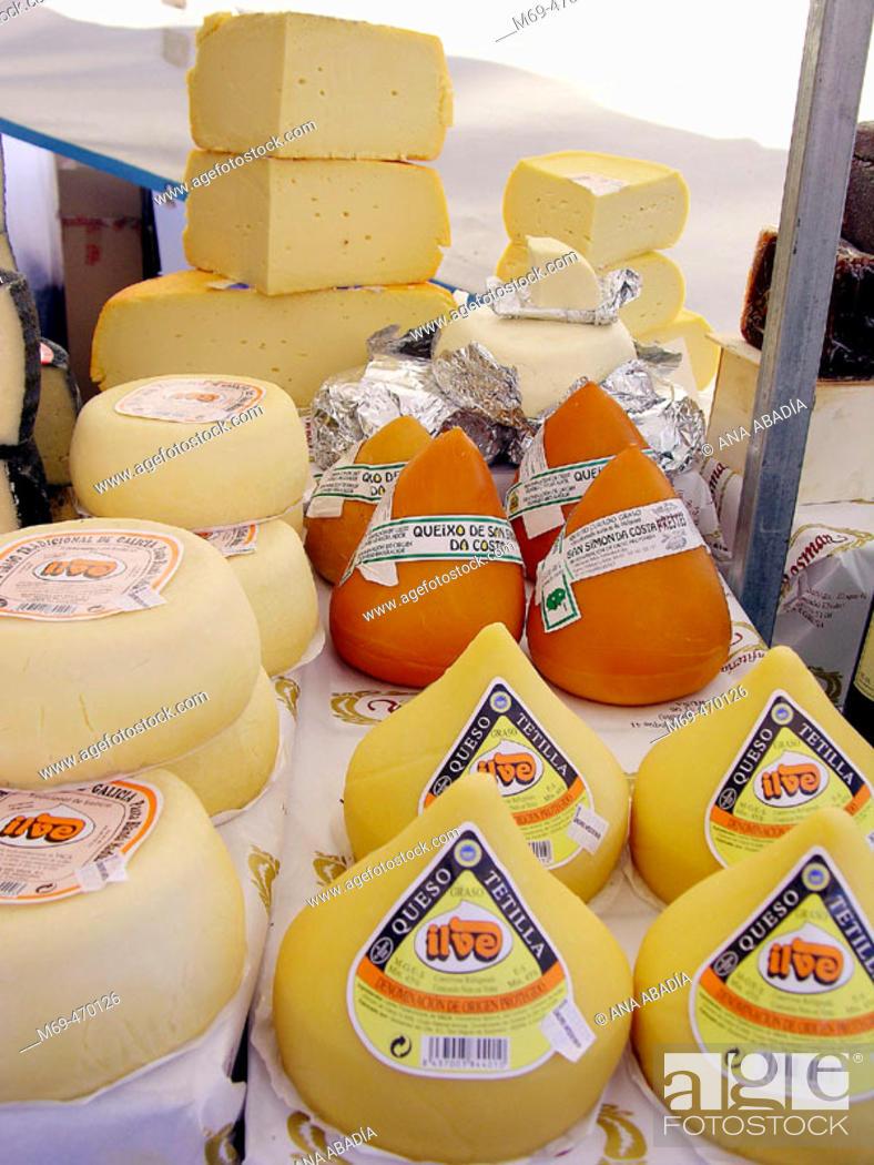 Stock Photo: Galician cheeses for sale. Fira Avícola Raça Prat, El Prat de Llobregat, Barcelona province, Catalonia, Spain.