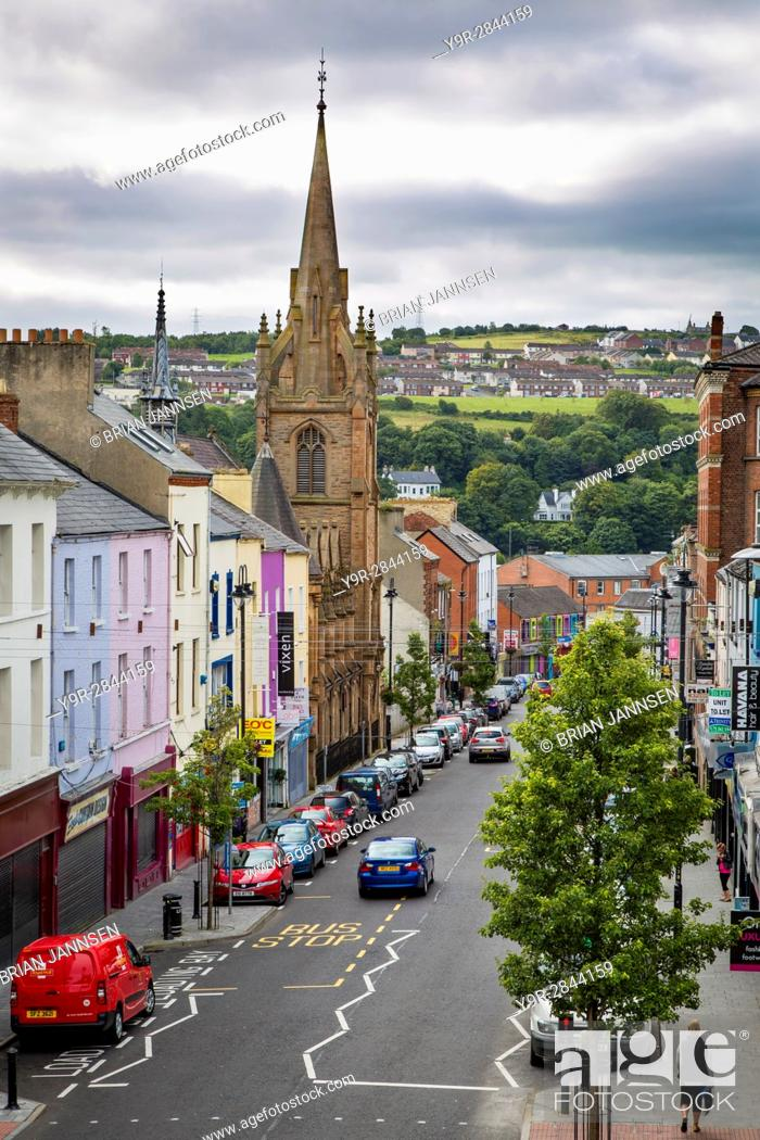 Stock Photo: View down Carlisle Road with tower of Carlisle Road Methodist Church, Londonderry, County Derry, Northern Ireland, UK.