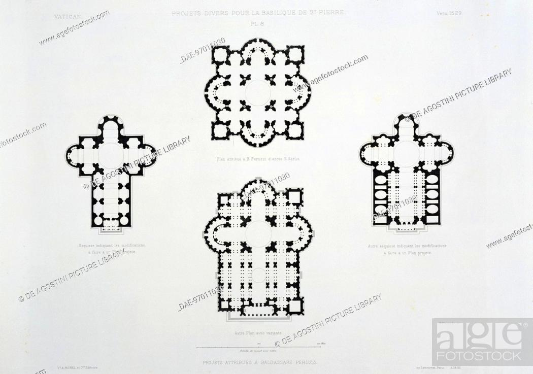 Top, Designs of St Peter's Basilica attributed to