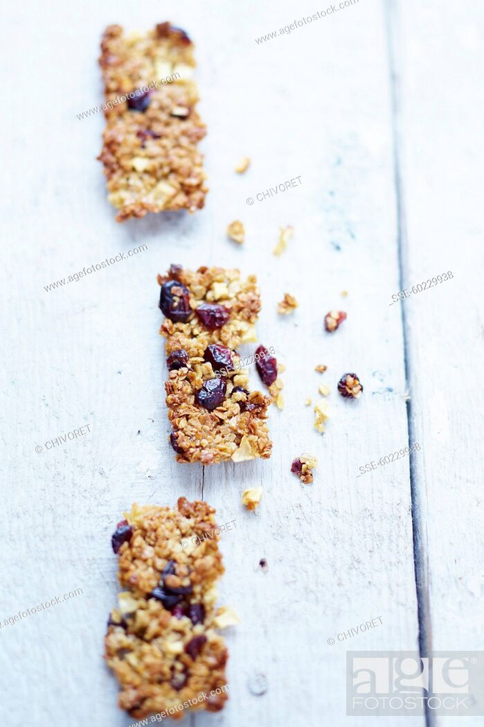 Stock Photo: Apple and cranberry Flapjacks.