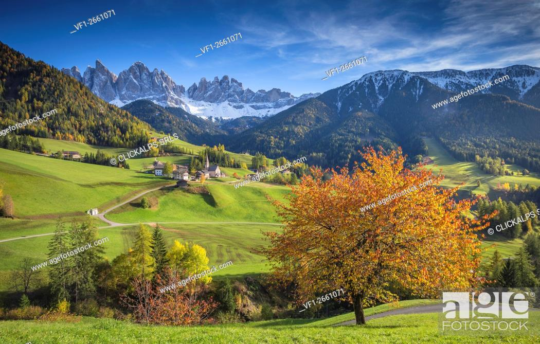 Stock Photo: Val di Funes, Trentino Alto Adige, Italy.