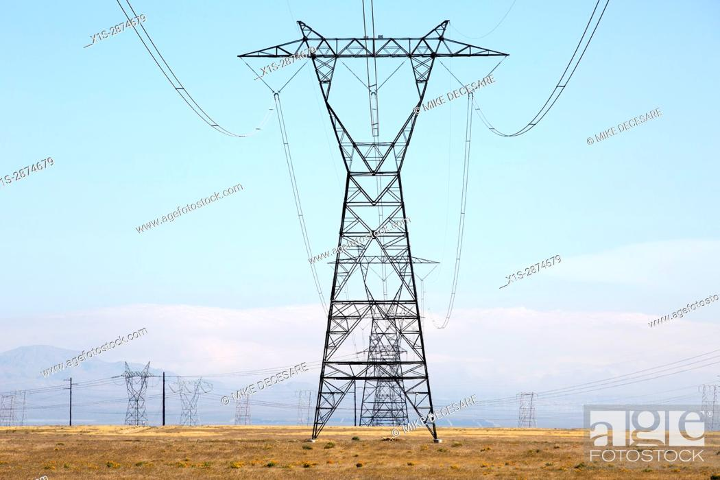 Stock Photo: Transmission Towers carry high voltage electricity across great distances.
