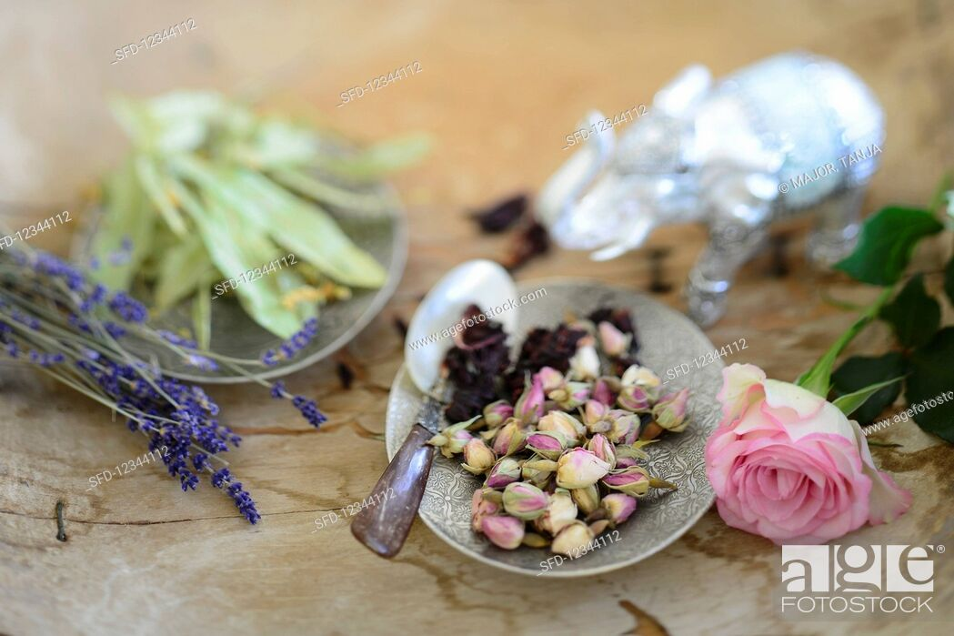 Stock Photo: Dried lime blossoms, lavender, dried hibiscus blossoms, and rose buds.
