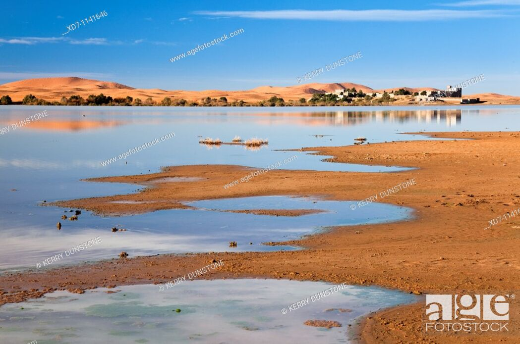 Imagen: Morocco Erfoud Erg Chebbi with lake and hotel.