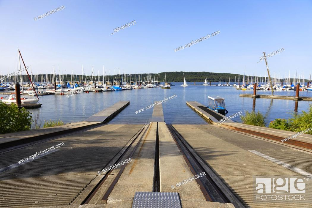 Stock Photo: Slipway, sailing boats in sailing harbour, marina, Großer Brombachsee, Ramsberg am Brombachsee, district of Markt Pleinfeld, Franconian Lake District.