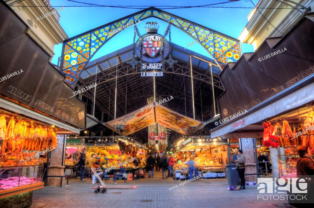 Stock Photo: la boqueria market. barcelona.