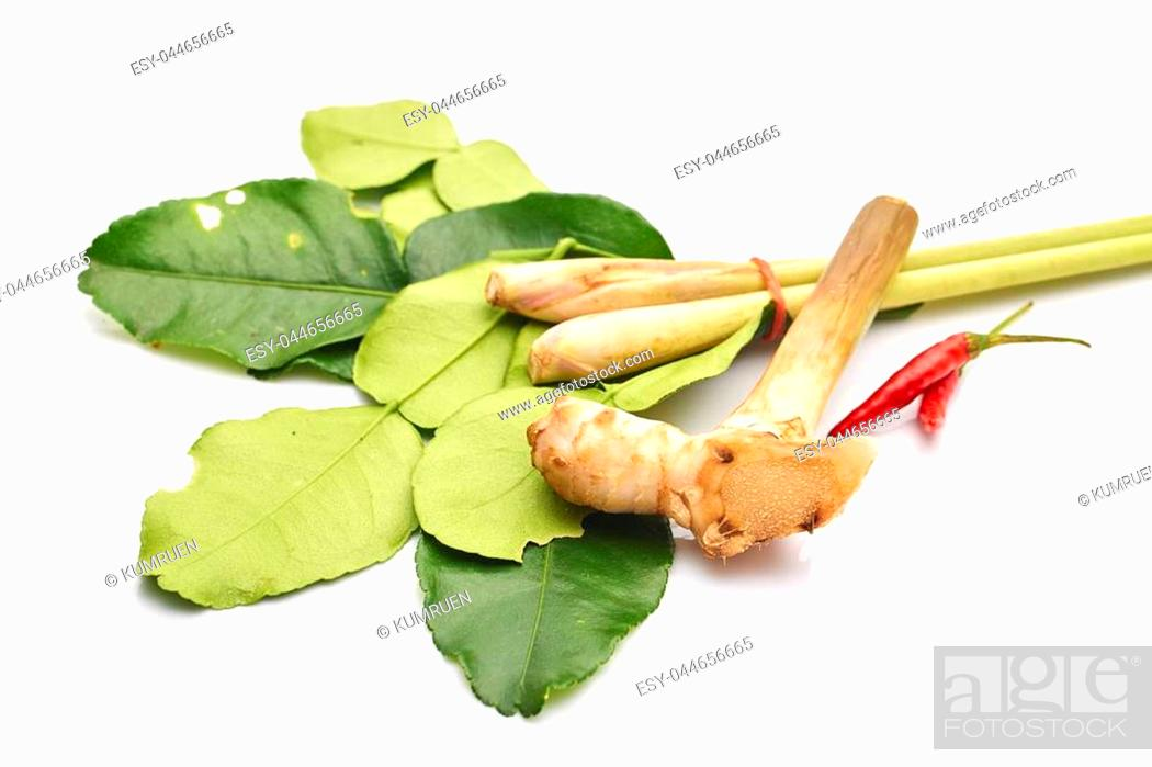 Stock Photo: thai spicy soup ingredients with galangal,kaffir lime leave, chili, lemongrass on white background.