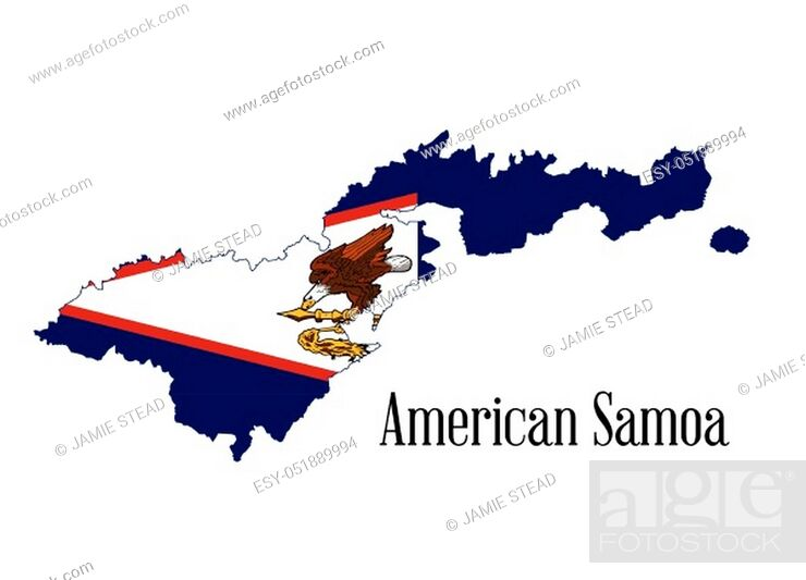 Vector: Silhouette map of the Amerian Samoa island on a white background.