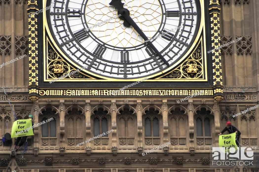 Greenpeace Activists Scale Big Ben During Anti War In Iraq Demo On